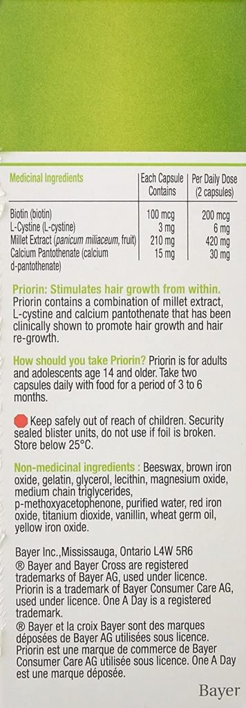 the back of a priorin pack with ingredients and dosage used in this priorin review